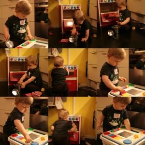 Joel i full rulle med sina nya leksaker