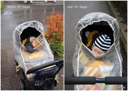 I vagn med regnskydd