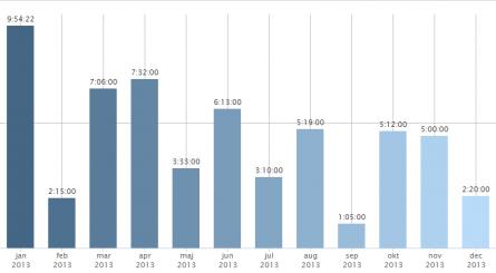 Träning per månad 2013